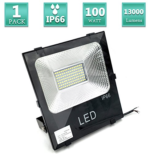 LED Flood Light 100W 13000LM Outdoor 600W Halogen Bulb Equivalent, Garage Security Spotlight, Super Bright Outdoor Work Lights, Cool White 6500K IP66 Waterproof, 120 Beam Angle,UL-1 Pack