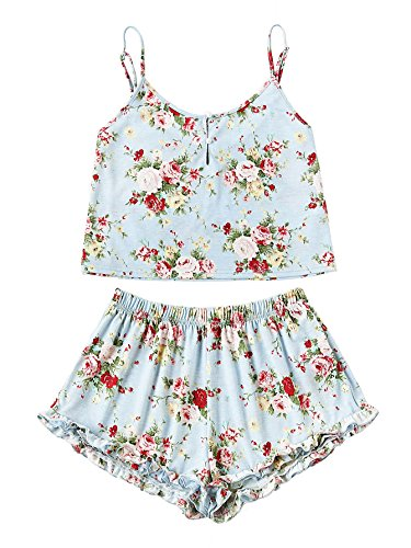 SheIn Women's Summer Floral Print Cami Top and Shorts Pajamas Set Medium Blue (Cami Pajama Top Women)