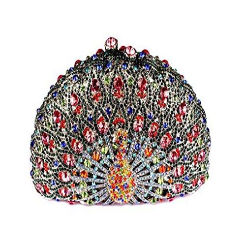 YILONGSHENG Embragues de cristal de lujo para las mujeres pavo real embrague noche bolsa 219 Multi-color 03