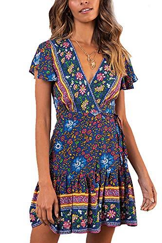 Richccoco Women's Summer Boho Short Dress Casual Ruffle Short Sleeve Beach Sundress Bohemian Floral Print Wrap Mini Dress (Navy Blue, -