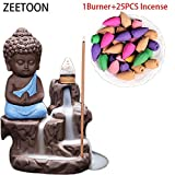ZEETOON 20pcs incense Home Decor Little Monk Incense Holder Censer Ceramic Backflow Stick Incense Burner Buddha Purple Clay Pottery Tea Pet