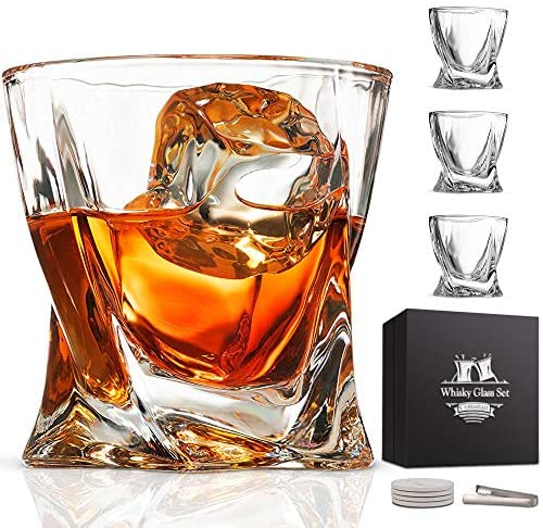 Whiskey Glass Set Of 4 Lead Free Crystal Clear Scotch Glasses 10 Oz Glassware With Luxury Gift Box 4 Drink Coasters 1 Ice Tong For Drinking Bourbon Malt