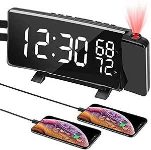 PEYOU Reloj Despertador con proyección Digital con Pantalla LED de 7 Pulgadas, Radio Despertador FM, Temperatura, Cambio de Ciclo de Tres Colores, 4 ...