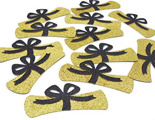 Diploma Confetti, 12pcs 4 inches Graduation Centerpeices Congrats Grad Party Decorations Graduation Table Decor Class of 2019 High School College Graduation Party Supplies (Gold & Black Glitter) -
