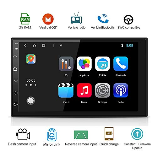 (Android 8.0 Octa Core 2G DDR3 + 16G Car Radio Stereo 7 inch Capacitive Touch Screen High Definition 1024x600 GPS Navigation Bluetooth USB SD Player NAND Memory Flash SP-AT2018-2G16)