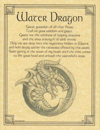 Home Wall Artwork Prayer Water Dragon Small Parchment Paper Poster Framing Size Print -