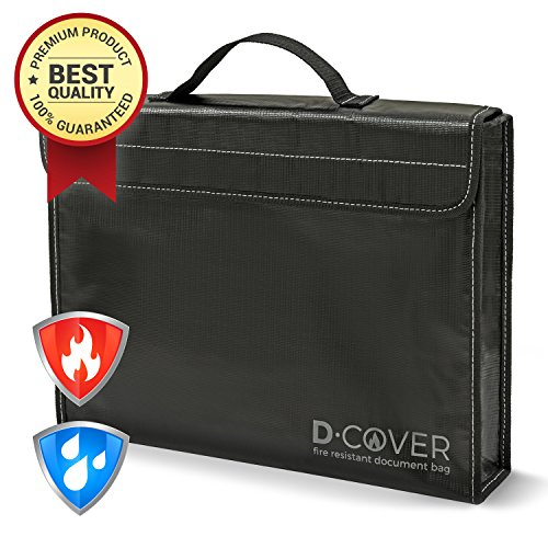 Fire Resistant Document Bag by D-Cover | Fireproof Document Pouch with Handle: black silicone coated, non-itchy heatproof fiberglass, Velcro fastener and Zipper. Size XXL: (Document Bag)