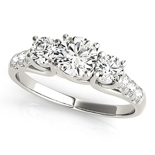 2,10 Ct corte redondo anillo de compromiso de diamantes Moissanite 14 K oro blanco