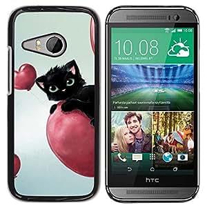 PC/Aluminum Funda Carcasa protectora para HTC ONE MINI 2 / M8 MINI Cat Pink Hearts Balloon Black Blue Eyes / JUSTGO PHONE PROTECTOR