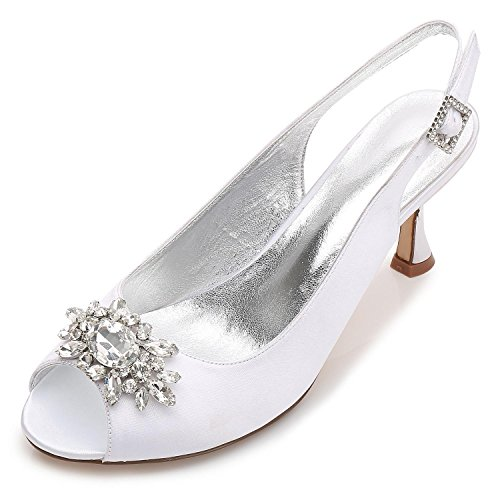 Women 58 Ladies Satin Dress Shoes YC Wedding Court Rhinestone Shoes E17061 Buckle White L With gCFwxqR5n