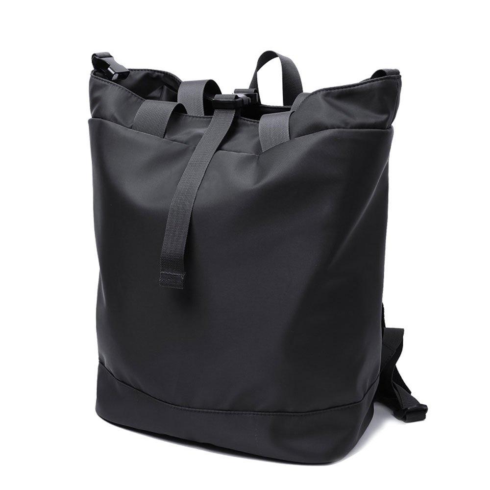 バックパック男性と女性の大容量バックパックコンピュータバッグ大学中学生ファッション旅行 (色 : ブラック) B07Q6BCGLD ブラック