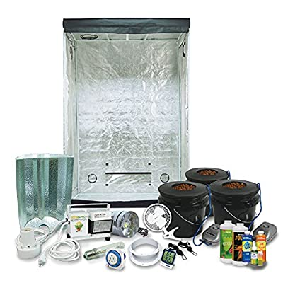 "Complete 2 x 4 (29""x53""x79"") Grow Tent Package With 400-Watt HPS Grow Light + DWC Hydroponic System & Nutrients"