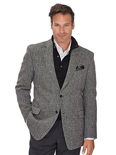 Paul Fredrick Men's Authentic Harris Tweed wool 2 button sport coat Black / White 40 Regular