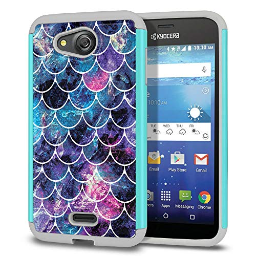 FINCIBO Case Compatible with Kyocera Hydro Wave C6740 Air C6745, Dual Layer Football Skin Hybrid Protector Case Cover Anti-Shock TPU for Kyocera Hydro Wave - Mosaic Mermaid Scale ()