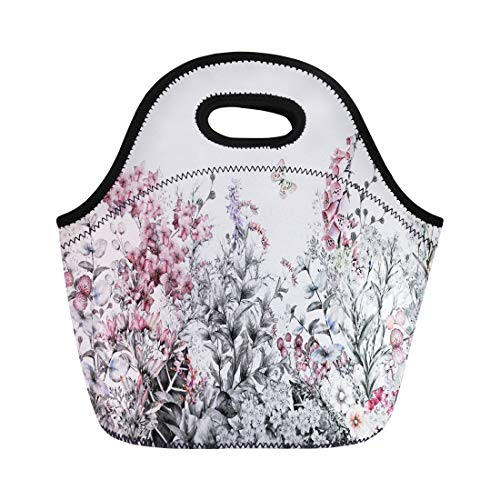 Rim Meadow - Semtomn Neoprene Lunch Tote Bag Rim Border Herbs and Wild Flowers Leaves Botanical Colorful Reusable Cooler Bags Insulated Thermal Picnic Handbag for Travel,School,Outdoors, Work