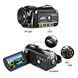 ORDRO 4K Camcorder 3.1'' IPS Touch Screen Ultra-HD 1080P 60FPS 24MP Digital WiFi Video Camera, IR Night Vision Camcorder with Microphone, Wide Angle Lens, Lens Hood and Camera Bracket
