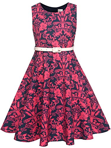 Bonny Billy Girls Sleeveless Vintage Floral Swing Party Dress Size 14 Red -