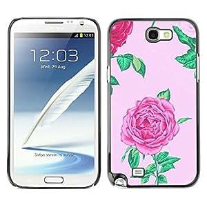 Caucho caso de Shell duro de la cubierta de accesorios de protección BY RAYDREAMMM - Samsung Galaxy Note 2 N7100 - Pink Spring Flower Petal