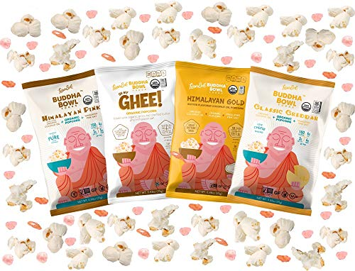 LesserEvil Buddha Bowl Organic Popcorn Variety Sampler, 0.88oz Bags (12 Count) made in New England