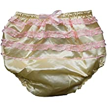 Haian ABDL PVC & Satin Panties Frilly Rumba Pants Color Yellow (X-Large)