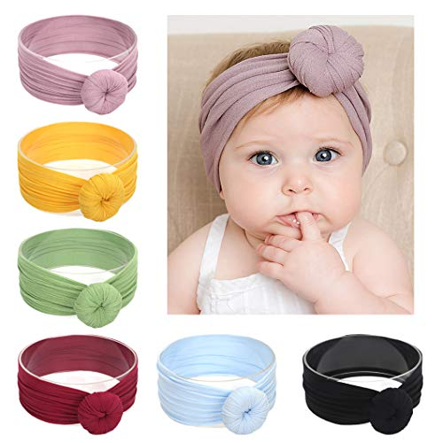 Xinshi Baby Girls Elastic Soft Hair Band Infant Bow Headbands Turban (KNT (6PCS))