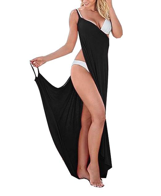29941800d5 Women's Spaghetti Strap Backless Beach Dress Bikini Cover Up(Black ...