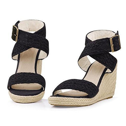 NeeKer Shoes Gladiator Sandals Fashion Cross Strap Bukle Straw Brand Wedge Sandals Women High Heels Bohemia Beach Sandals Black 7