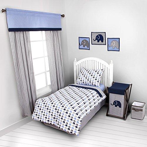 Bacati - Elephants Blue/Grey 4 Pc Toddler Bedding Set