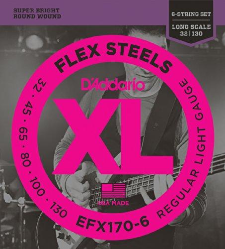 D'Addario EFX170-6 6-String FlexSteels Bass Guitar Strings, Light, 32-130, Long Scale