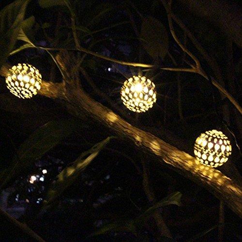 Jojoo 12 Led 12ft Moroccan Solar String Lights Metal Globe Lanterns Ornament Lights For Garden