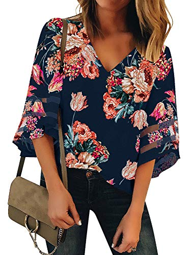 (Luyeess Women's Casual V Neck Loose Mesh Panel Chiffon 3/4 Bell Sleeve Blouse Top Shirt Tee Navy Blue Floral, Size L(US 12-14))