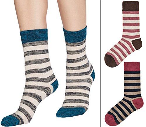 Flora&Fred Women's Cotton Crew Socks, Sock Size 10-12/Shoe Size 8-11, Rustic Stripe, 3 Pack