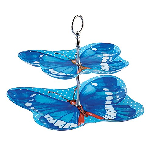 - Blue Butterfly 2-Tier Serving Tray with Carrying Handle, Dishwasher Safe, Blue