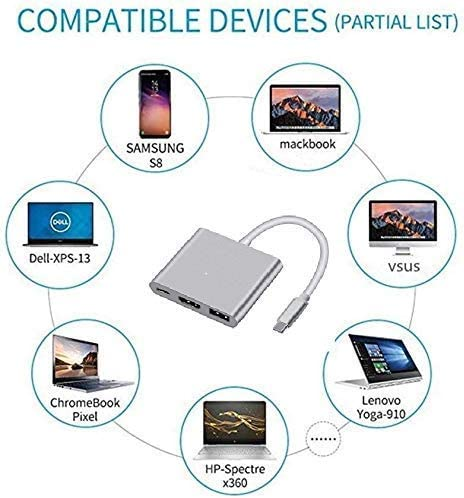 Type C Adapter Multiport AV Converter with 4K HDMI Output USB 3.1 Port and hub Port PD Quick Charging Port Compatible for//2015//16//17//18 MacBook//Pro LWS 3 in 1 USB C to HDMI Adapter Silver