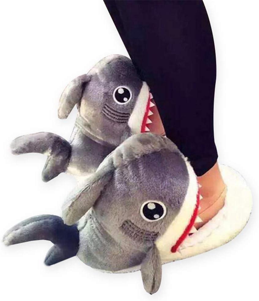 lhxyx Zapatillas de algodón de tiburón para Hombre y Mujer Interior de Peluche Zapatos de Invierno.