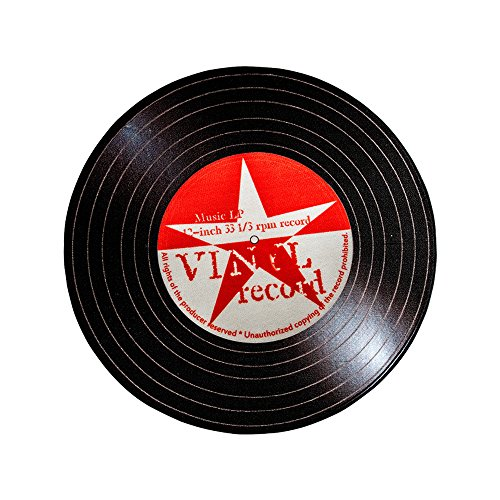 Carvapet Rock Star Music Record LP Vinyl Retro Black CD Non-Slip Creative Design Round Area Rug, Red/White, 3'3