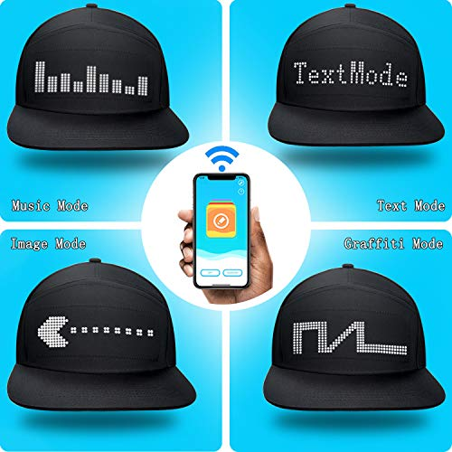 shunpad LED Cool Hats for Men Baseball Halloween Birthday New Year\'s Christmas Party Supplies Hat Black, Large