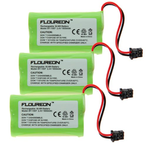 Floureon 3X Uniden BT-1007 Cordless Phone Battery Replacement - Battery 1800mAh