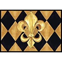 "Caroline's Treasures Black and Gold Fleur De Lis New Orleans Indoor or Outdoor Doormat, 24"" x 36"", Multicolor"