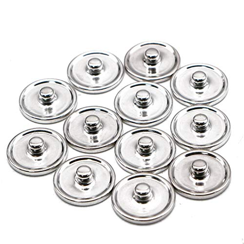 JETEHO 50 Pcs 18mm Flat Round Brass Snap Button Cabochon Setting Blank Snap Button Base Trays for Snap Button Jewelry Making