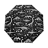 WIHVE Dinosaur Skeleton Umbrella Auto Open Close Windproof Compact