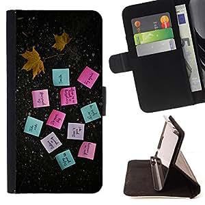 BullDog Case - FOR/Samsung Galaxy Note 3 III / - / MOTIVATIONAL POST NOTES /- Monedero de cuero de la PU Llevar cubierta de la caja con el ID Credit Card Slots Flip funda de cuer