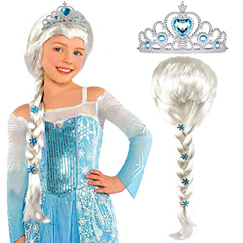 Tacobear Elsa Wig Frozen Elsa Braid with Princess Tiara Princess Elsa Dress Up Costume Accessories for Kids Girls White