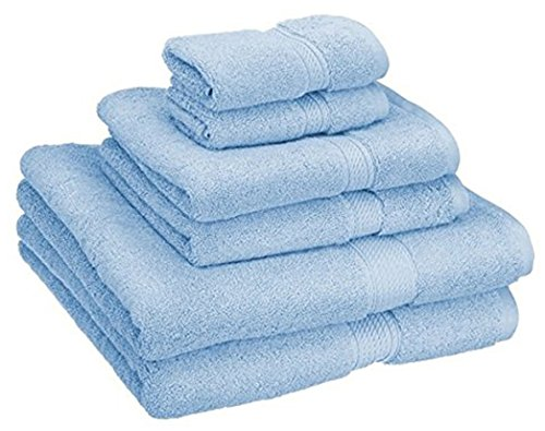 Superior 900 GSM Luxury Bathroom 6-Piece Towel Set, Made of 100% Premium Long-Staple Combed Cotton, 2 Hotel & Spa Quality Washcloths, 2 Hand Towels, and 2 Bath Towels – Light Blue
