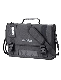 WEGWANG Canvas Messenger Bag Laptop Bag for men and women with Multi Compartment, fits15.6 MacBook ( black)