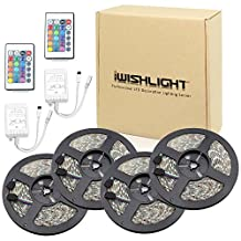 IWISHLIGHT 65.6Ft 20M [4 Roll] SMD 5050 1200LEDs Water-resistant Flexible RGB LED Strip Lighting + 24Key Remote