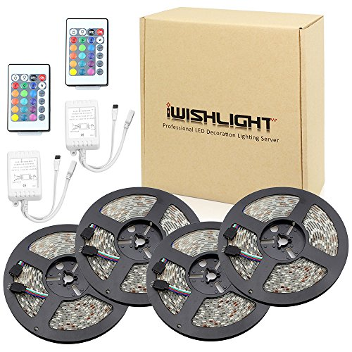 16' Roll (IWISHLIGHT 65.6Ft 20M [4 Roll] SMD 5050 1200LEDs Water-resistant Flexible RGB LED Strip Lighting + 24Key Remote)