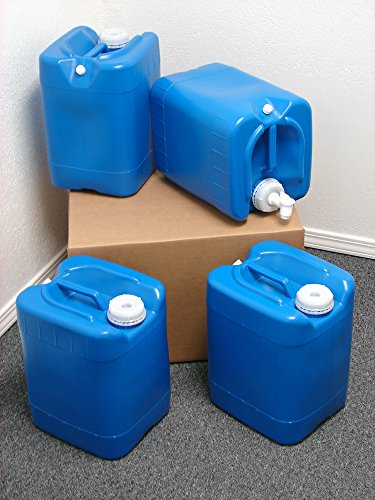5 Gallon Samson Stackers, Blue, 4 Pack (20 Gallons), Emergency Water Storage Kit - New! - Clean! - Boxed! - Free spigot and cap wrench!