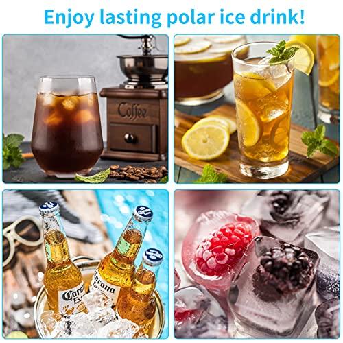 Eiswürfelform, 4er Pack Eiswürfelbehälter Silikon Mit Deckel, Quadratische Eiswürfelschalen, 14-Fach, LFGB Zertifiziert (2 Orange+2 Rosa)