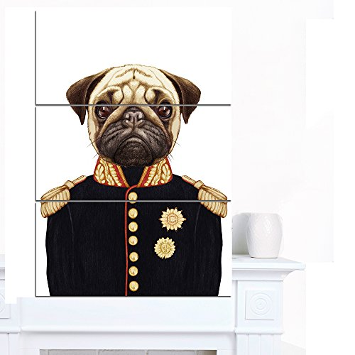 Funny Pug Dog in Military Uniform - Modern Animal Glossy Metal